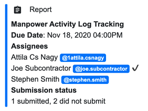 Activity log submission tracking report