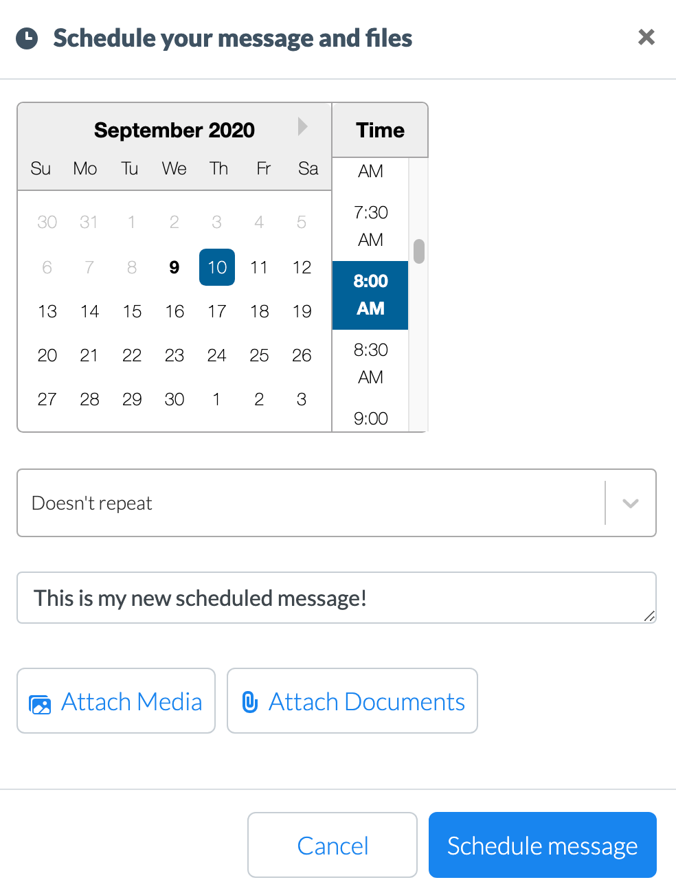 Scheduling messages