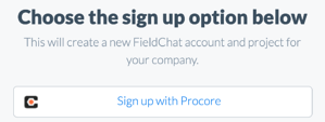 Sign up with Procore
