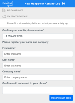 Web log form new user enrollment