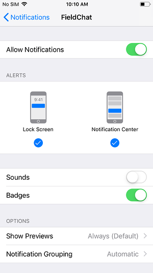 ios notifications for fieldchat