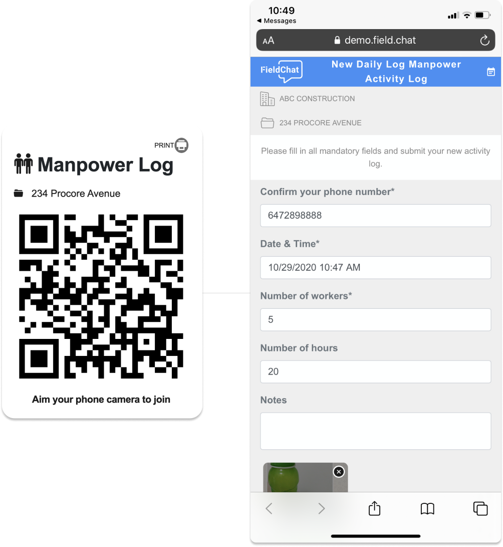 Construction Operations Software – Collect Manpower Logs via QR Codes Product Image