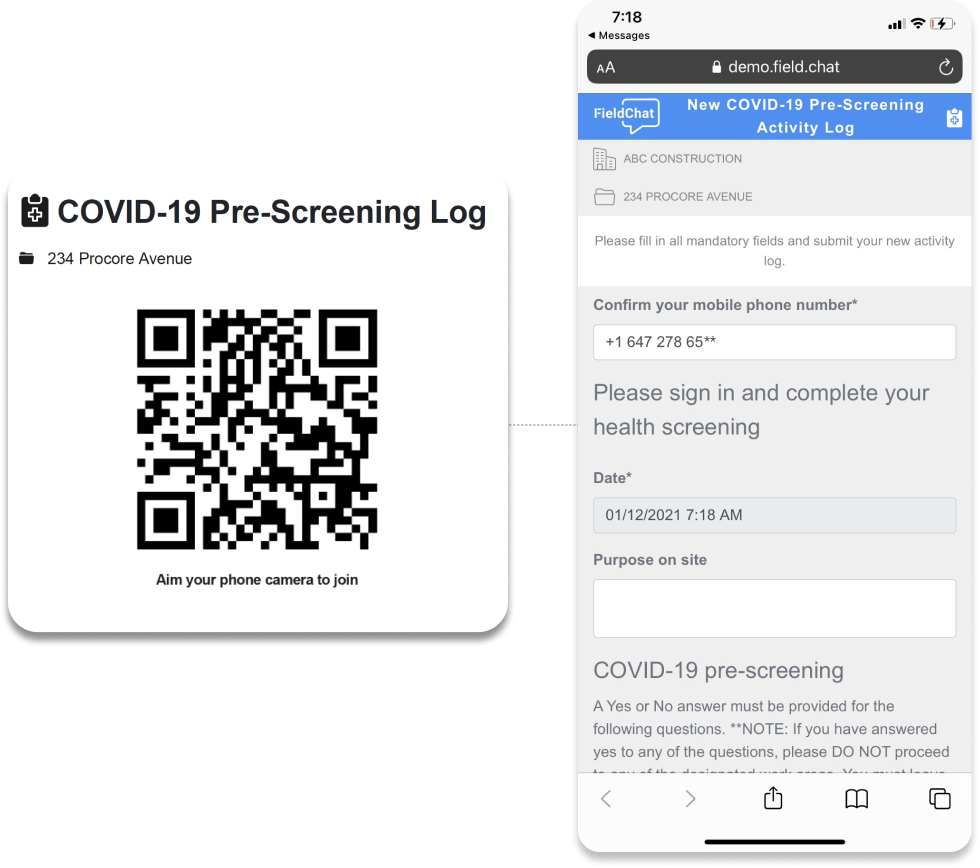 Construction Safety and Compliance Software – COVID Assessment via QR Code Product Image